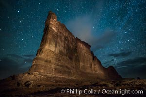 Tower of Babel and stars at night. Arches National Park, Utah, USA, natural history stock photograph, photo id 27846