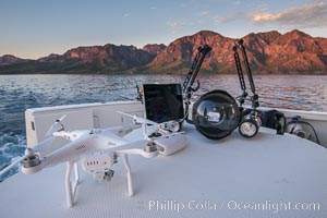 Toys: Drone, Underwater Camera Housing, Fishing Rod and SCUBA tanks, San Evaristo, Baja California, Mexico
