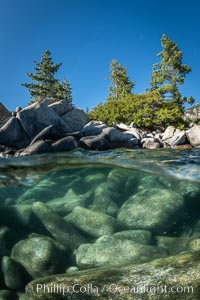 Trees and rocks in Lake Tahoe, Sand Harbor State Park. Nevada, USA, natural history stock photograph, photo id 36413