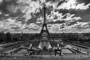 Eiffel Tower and the Trocadero, clouds and sunshine, Paris. The Trocadero, site of the Palais de Chaillot, is an area of Paris, France, in the 16th arrondissement, across the Seine from the Eiffel Tower., natural history stock photograph, photo id 28150