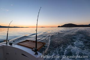Trolling aboard Ambar III at Sunrise, Sea of Cortez, San Evaristo, Baja California, Mexico