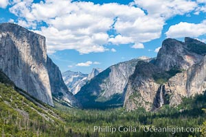 Tunnel view with El Capitan and Bridalveil Falls, in spring, Yosemite National Park