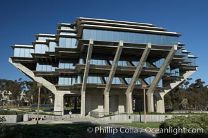 The UCSD Library (Geisel Library, UCSD Central Library) at the University of California, San Diego.  UCSD Library.  La Jolla, California.  On December 1, 1995 The University Library Building was renamed Geisel Library in honor of Audrey and Theodor Geisel (Dr. Seuss) for the generous contributions they have made to the library and their devotion to improving literacy.  In The Tower, Floors 4 through 8 house much of the Librarys collection and study space, while Floors 1 and 2 house service desks and staff work areas.  The library, designed in the late 1960s by William Pereira, is an eight story, concrete structure sited at the head of a canyon near the center of the campus. The lower two stories form a pedestal for the six story, stepped tower that has become a visual symbol for UCSD. University of California, San Diego, La Jolla, California, USA, natural history stock photograph, photo id 11277