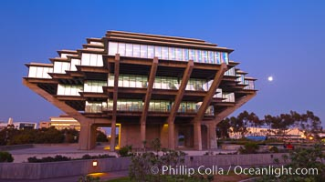 UCSD Library glows at sunset (Geisel Library, UCSD Central Library). University of California, San Diego, San Diego, California, USA, natural history stock photograph, photo id 26908