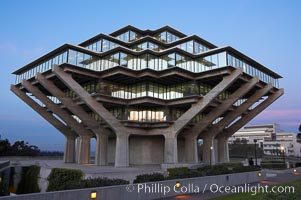 UCSD Library glows with light in this night time exposure (Geisel Library, UCSD Central Library). University of California, San Diego, La Jolla, USA, natural history stock photograph, photo id 20180