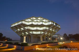 Image 20182, UCSD Library glows with light in this night time exposure (Geisel Library, UCSD Central Library). University of California, San Diego, La Jolla, California, USA, Phillip Colla, all rights reserved worldwide. Keywords: architecture, books, building, california, campus, college, concrete, cube, design, education, futuristic, geisel library, la jolla, library, modern, outdoors, outside, research, san diego, scene, school, tourism, travel, ucsd, ucsd library, university, university of california, university of california san diego, usa.