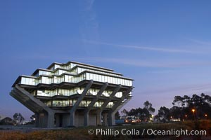 Image 20185, UCSD Library glows with light in this night time exposure (Geisel Library, UCSD Central Library). University of California, San Diego, La Jolla, California, USA, Phillip Colla, all rights reserved worldwide. Keywords: architecture, books, building, california, campus, college, concrete, cube, design, education, futuristic, geisel library, la jolla, library, modern, outdoors, outside, research, san diego, scene, school, tourism, travel, ucsd, ucsd library, university, university of california, university of california san diego, usa.