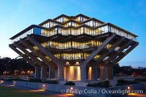 Image 14775, UCSD Library glows at sunset (Geisel Library, UCSD Central Library). University of California, San Diego, La Jolla, California, USA, Phillip Colla, all rights reserved worldwide. Keywords: architecture, books, building, california, campus, college, concrete, cube, design, dusk, education, futuristic, geisel library, la jolla, library, modern, night, outdoors, outside, research, san diego, scene, school, sunset, tourism, travel, ucsd, ucsd library, university, university of california, university of california san diego, usa.