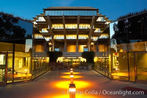 UCSD Library glows at sunset (Geisel Library, UCSD Central Library), University of California, San Diego, La Jolla