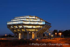 UCSD Library glows at sunset (Geisel Library, UCSD Central Library). University of California, San Diego, La Jolla, California, USA, natural history stock photograph, photo id 14779