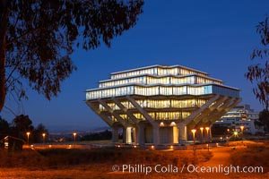 UCSD Library glows at sunset (Geisel Library, UCSD Central Library). University of California, San Diego, La Jolla, California, USA, natural history stock photograph, photo id 14780