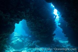Underwater cavern, Grand Cayman Island. Cayman Islands, natural history stock photograph, photo id 32194