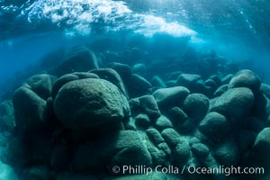 Underwater rocks in Lake Tahoe, Sand Harbor State Park. Nevada, USA, natural history stock photograph, photo id 36412