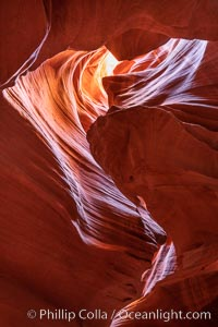 Upper Antelope Canyon, a deep, narrow and spectacular slot canyon lying on Navajo Tribal lands near Page, Arizona, Navajo Tribal Lands