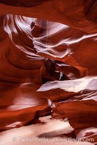 Antelope Canyon, a deep narrow slot canyon formed by water and wind erosion, Navajo Tribal Lands, Page, Arizona