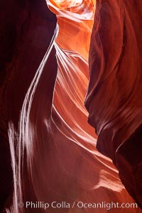Antelope Canyon, a deep narrow slot canyon formed by water and wind erosion. Navajo Tribal Lands, Page, Arizona, USA, natural history stock photograph, photo id 18000