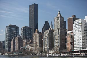 New York Citys Upper East Side, viewed from the East River. Manhattan, USA, natural history stock photograph, photo id 11141