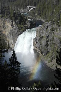 A rainbow forms in the spray from Upper Yellowstone Falls near the Grand Canyon of the Yellowstone, Yellowstone National Park, Wyoming