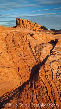 Image 26499, Sandstone striations and butte, dawn. Valley of Fire State Park, Nevada, USA, Phillip Colla, all rights reserved worldwide.   Keywords: valley of fire state park:Nevada:landscape:outdoors:outside:scene:scenery:scenic:sandstone:red rock:desert:rock:erosion:Geology:hidden location:nevada:valley of fire:natural:nature:west.