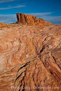 Sandstone striations and butte, dawn. Valley of Fire State Park, Nevada, USA, natural history stock photograph, photo id 26522