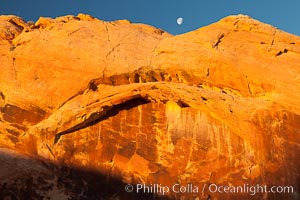 Setting moon over natural sandstone arch, sunrise. Valley of Fire State Park, Nevada, USA, natural history stock photograph, photo id 26481