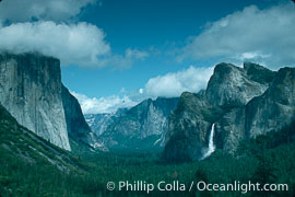 Valley View, El Capitan (l), Bridalveil Fall (r), Tunnel View, copyright Phillip Colla Natural History Photography, www.oceanlight.com, image #02325, all rights reserved worldwide.
