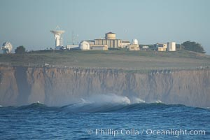 Radar installation owned by Vandenberg Air Force Base rises atop Pillar Point, Half Moon Bay, California