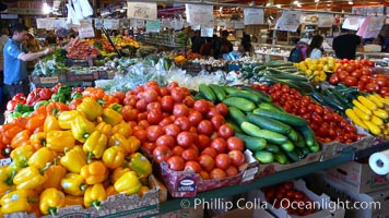 Vegetable variety at the Public Market, Granville Island, Vancouver. Granville Island, Vancouver, British Columbia, Canada, natural history stock photograph, photo id 21202
