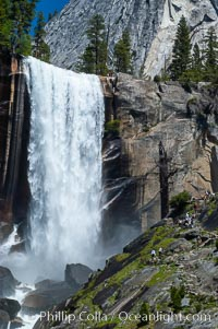 Vernal Falls and Merced River in spring, heavy flow due to snow melt in the high country above Yosemite Valley, Yosemite National Park, California