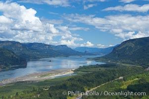 The Columbia River stretches to the east, viewed from the Vista House overlook high above the Oregon (south) side of the river, Columbia River Gorge National Scenic Area