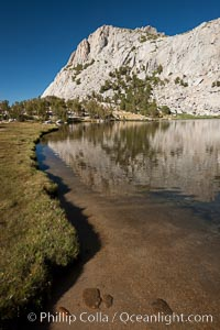 Vogelsang Lake (10324') and its grassy shoreline, with Fletcher Peak (11,408') rising above, Yosemite National Park, California