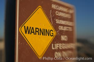 Warning, no lifeguard on duty. Ponto, Carlsbad, California, USA, natural history stock photograph, photo id 14467