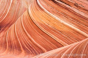 The Wave, an area of fantastic eroded sandstone featuring beautiful swirls, wild colors, countless striations, and bizarre shapes set amidst the dramatic surrounding North Coyote Buttes of Arizona and Utah.  The sandstone formations of the North Coyote Buttes, including the Wave, date from the Jurassic period. Managed by the Bureau of Land Management, the Wave is located in the Paria Canyon-Vermilion Cliffs Wilderness and is accessible on foot by permit only. USA, natural history stock photograph, photo id 20628