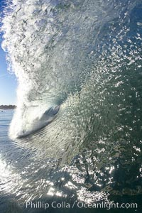 Wave breaking in early morning sunlight, Ponto, Carlsbad, California