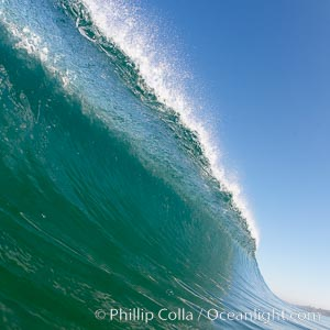 Cresting wave, morning light, glassy water, surf, Cardiff by the Sea, California