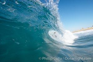 Breaking wave, the Wedge, The Wedge, Newport Beach, California