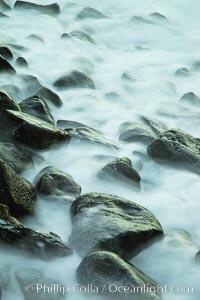 Waves and beach boulders, abstract study of water movement. La Jolla, California, USA, natural history stock photograph, photo id 26450