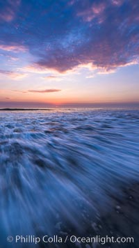 Waves rush in at sunset, Carlsbad beach sunset and ocean waves, seascape, dusk, summer. Carlsbad, California, USA, natural history stock photograph, photo id 27970