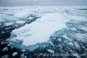 Pack ice and brash ice fills the Weddell Sea, near the Antarctic Peninsula.  This pack ice is a combination of broken pieces of icebergs, sea ice that has formed on the ocean
