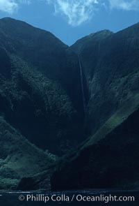 Waterfall and sea cliffs, Molokai