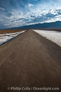 West Side Road cuts across the Badwater Basin, Death Valley National Park, California