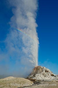 White Dome Geyser, with a faint rainbow visible in its mist, rises to a height of 30 feet or more, and typically erupts with an interval of 15 to 30 minutes.  It is located along Firehole Lake Drive, Lower Geyser Basin, Yellowstone National Park, Wyoming
