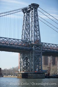 The Williamsburg Bridge is a suspension bridge in New York City across the East River connecting the Lower East Side of Manhattan at Delancey Street with the Williamsburg neighborhood of Brooklyn on Long Island at Broadway near the Brooklyn-Queens Expressway