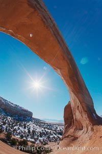 Wilson Arch rises high above route 191 in eastern Utah, with a span of 91 feet and a height of 46 feet. Wilson Arch, Utah, USA, natural history stock photograph, photo id 18033
