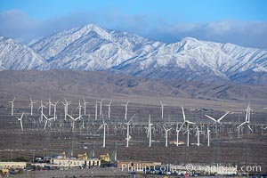 Wind turbines and Mount San Gorgonio Pass, near Interstate 10, provide electricity to Palm Springs and the Coachella Valley. California, USA, natural history stock photograph, photo id 22237