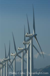 Wind turbines provide electricity to Palm Springs and the Coachella Valley. San Gorgonio pass, San Bernardino mountains. San Gorgonio Pass, Palm Springs, California, USA, natural history stock photograph, photo id 06854