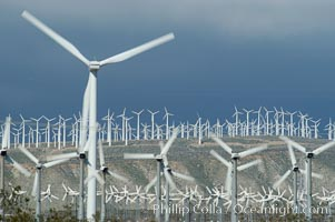 Wind turbines provide electricity to Palm Springs and the Coachella Valley. San Gorgonio pass, San Bernardino mountains, San Gorgonio Pass