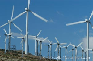 Wind turbines provide electricity to Palm Springs and the Coachella Valley. San Gorgonio pass, San Bernardino mountains. San Gorgonio Pass, Palm Springs, California, USA, natural history stock photograph, photo id 06859