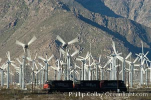 Wind turbines provide electricity to Palm Springs and the Coachella Valley. San Gorgonio pass, San Bernardino mountains. San Gorgonio Pass, Palm Springs, California, USA, natural history stock photograph, photo id 06860