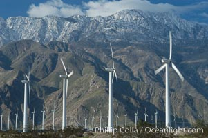 Wind turbines provide electricity to Palm Springs and the Coachella Valley. San Gorgonio pass, San Bernardino mountains. San Gorgonio Pass, Palm Springs, California, USA, natural history stock photograph, photo id 06861